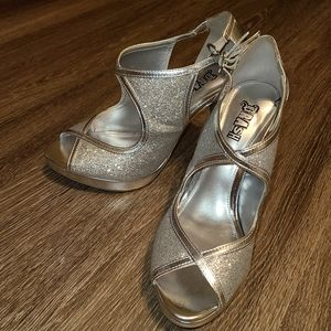Brash Silver Glitter Peepto Ankle Strap High Heels